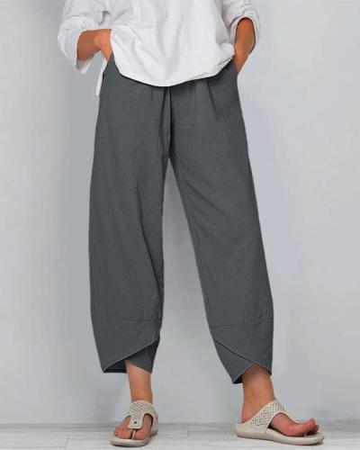 Solid Color Elastic Waist Casual Pants For Women