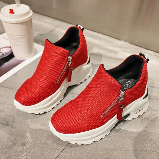 All-match thick-bottomed inner zipper fashion sneakers