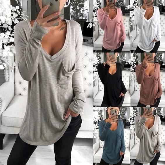 Plus Size Pure Color V Neck Pockets Casual Base T-Shirts