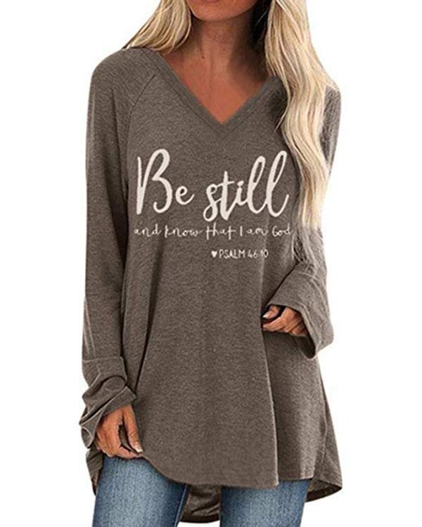 V Neck Letters Loose-Fitting T-shirt