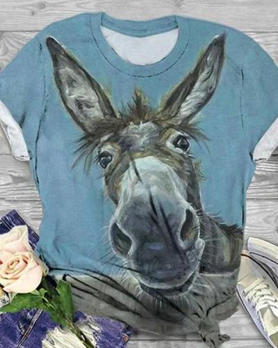 Plus Size Cotton-Blend Animal Crew Neck Short Sleeve Shirts & Tops