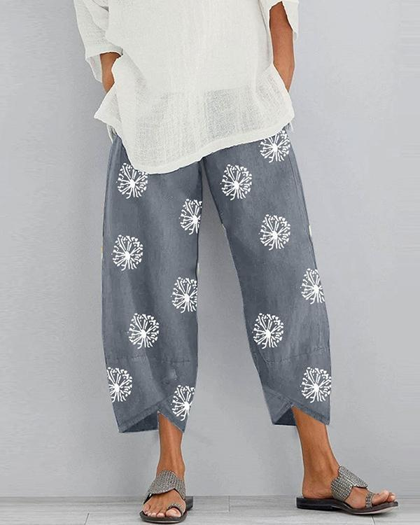 Printed Elastic Waist Pants With Pocket