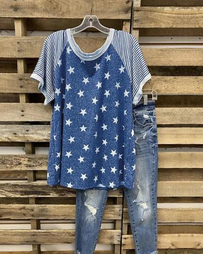 Stars And Stripes Print T-shirt