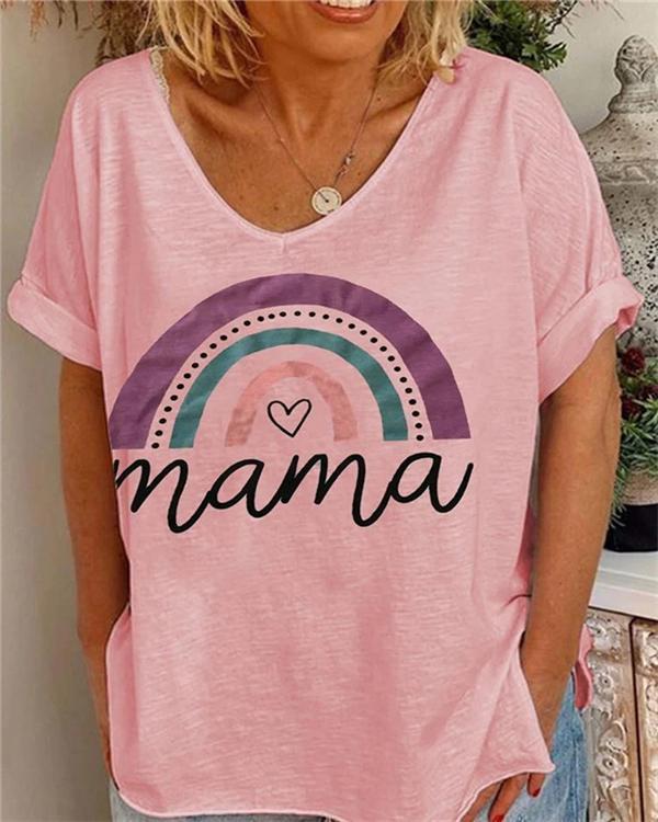 Mama Rainbow Printed Loose Casual Shirt