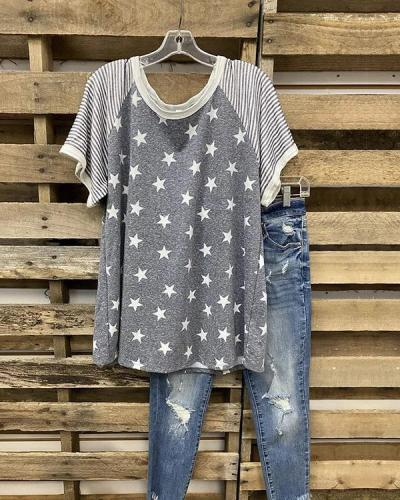 Stars And Stripes Print T-shirt