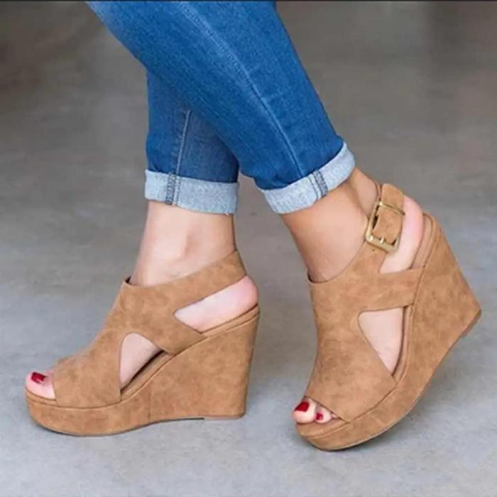 Peep Toe Buckle Strap Wedge Sandals