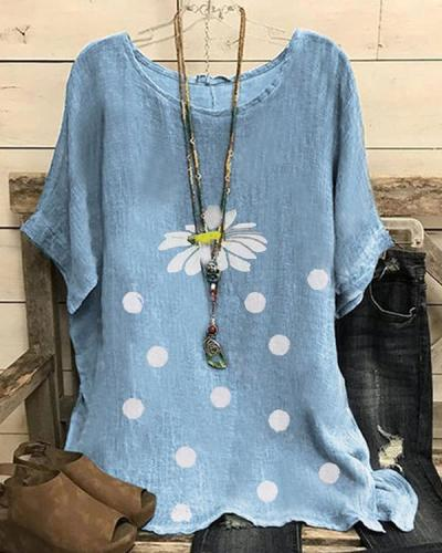 Plus size Vintage Daisy Printed Shirts & Tops