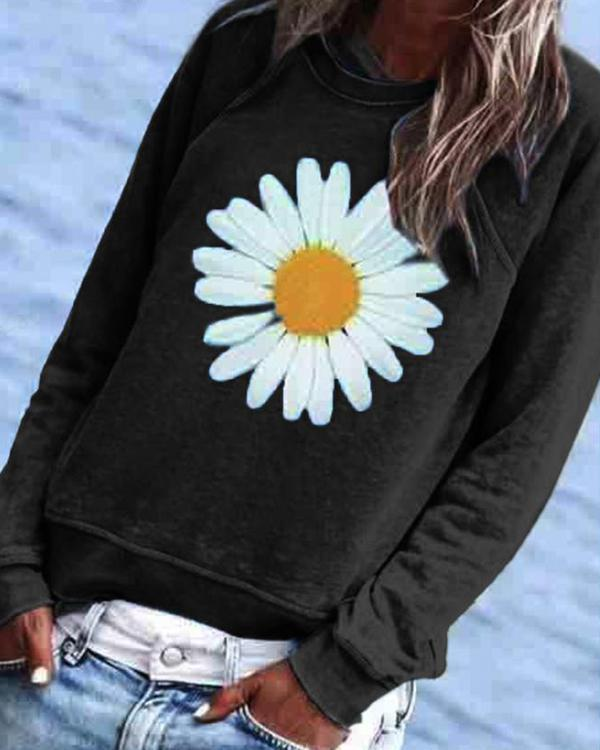 Casual Floral Printed Crew-Neck Top