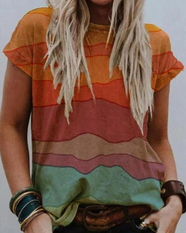 Multicolor Short Sleeve Round Neck Casual Tops