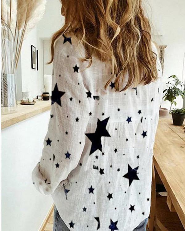 Cotton Irregular Daisy Print Shirt