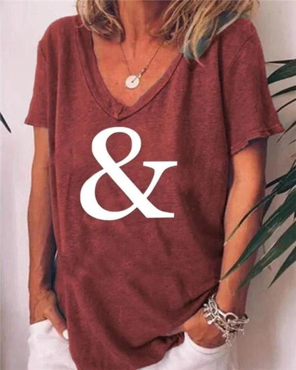 Geometric V-Neckline Short Sleeve Casual T-shirt