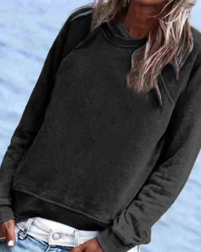 Solid Casual Long Sleeve Crew-Neck Top