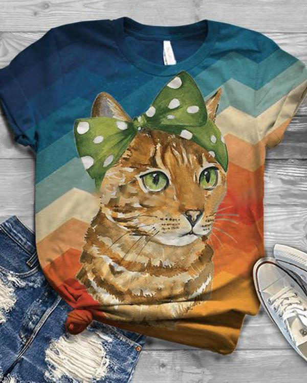 Animal Printed Casual Crew Neck Cotton-Blend Shirts & Tops