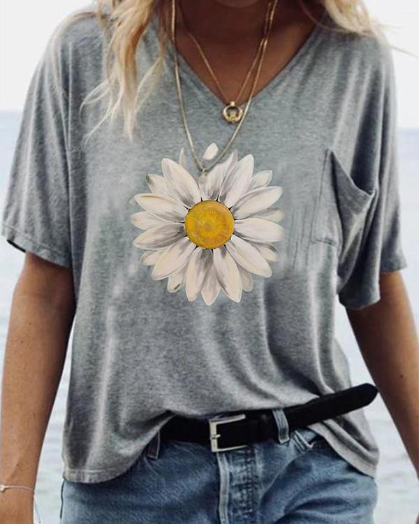 V Neck Printed Summer Short Sleeve Shirts & Tops