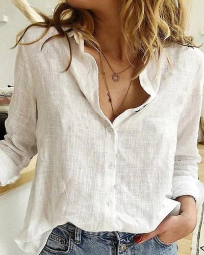 Women Vintage Cotton-Blend Blouse Shirts