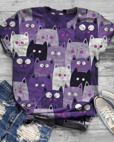 Cat Printed Casual Crew Neck Cotton-Blend Shirts & Tops