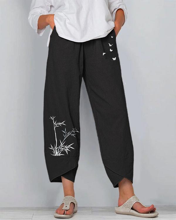 Bamboo And Butterflies Print Elastic Waist Pants For Women