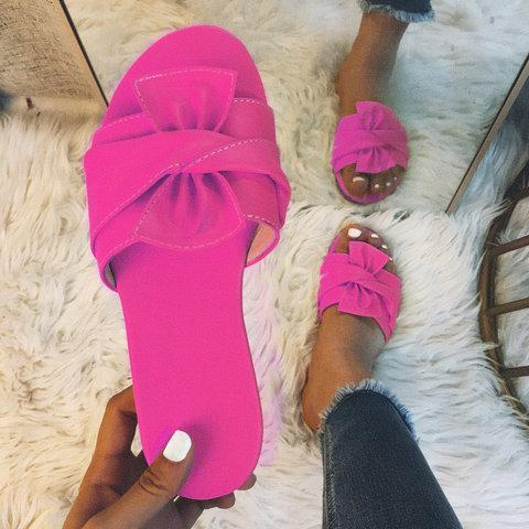 Bowknot Leatherette Slippers
