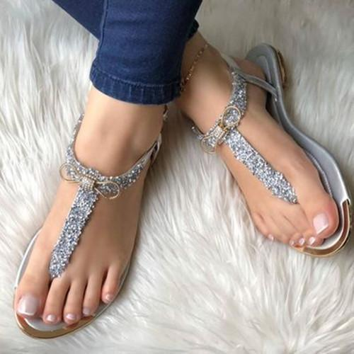 Flat Heel Buckle Pearl Sandals
