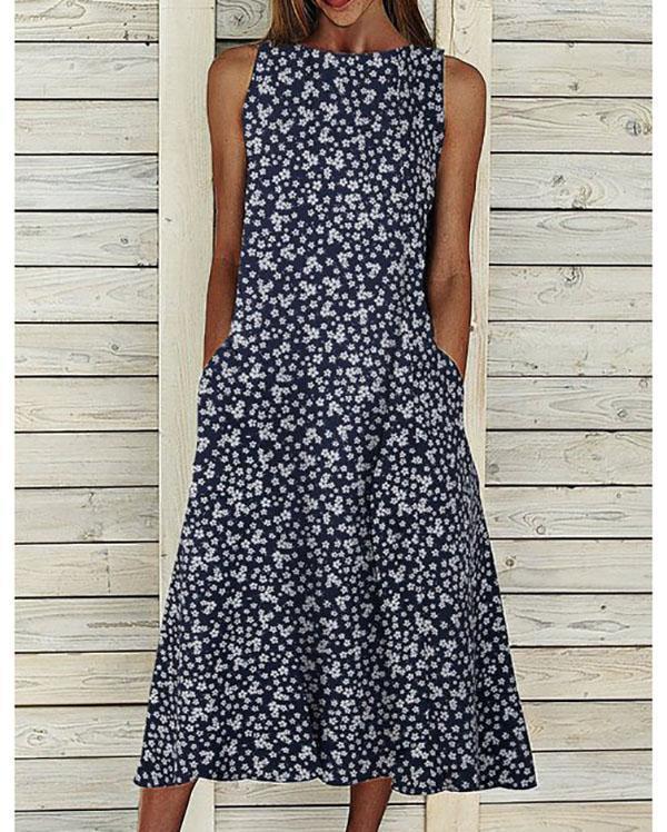 Floral Pockets Maxi Dress Summer Sleeveless Dresses