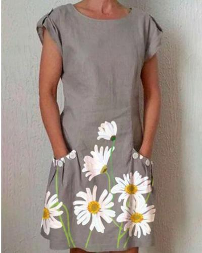 Gray Short Sleeve Floral-Print Dresses