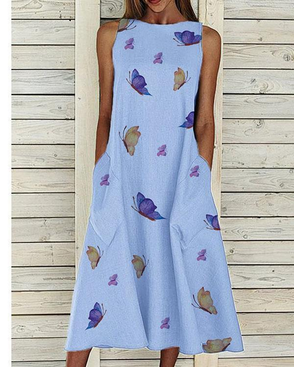 Butterfly Printed Big Pocket Casual Maxi Dress