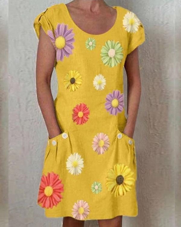 Yellow Short Sleeve Floral-Print Dresses