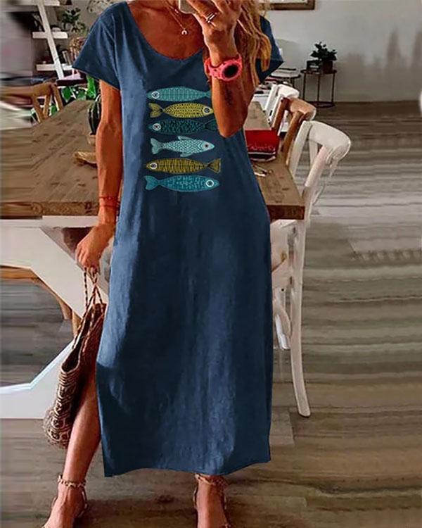 Cartoon Fish Print Short Sleeve Split Dress