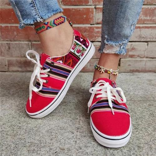 Women's Ethnic style Lace-up Skate Shoes Large Size Sneakers
