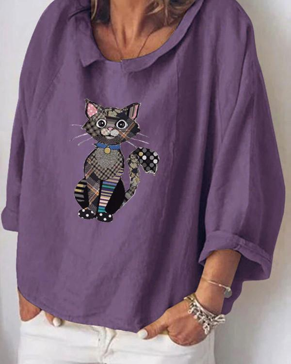 Fashion Cat Print Long Sleeve Shirt
