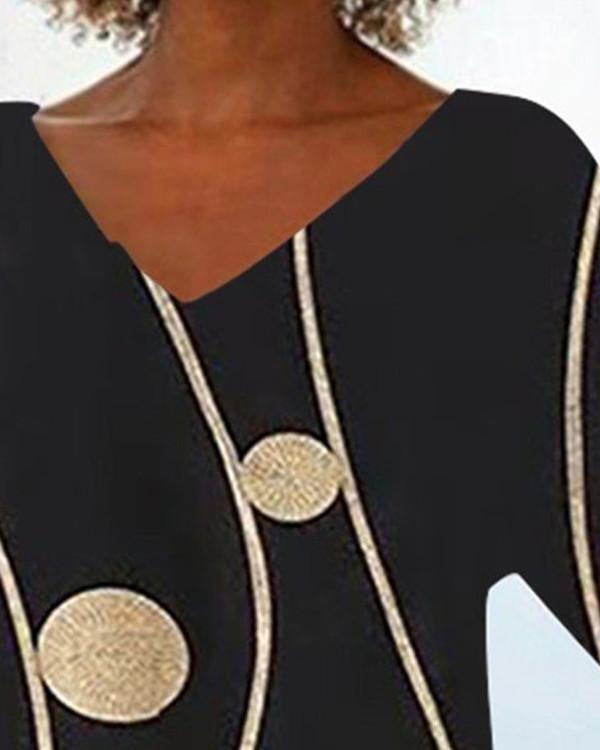 Fashion V-neck Print Shirt