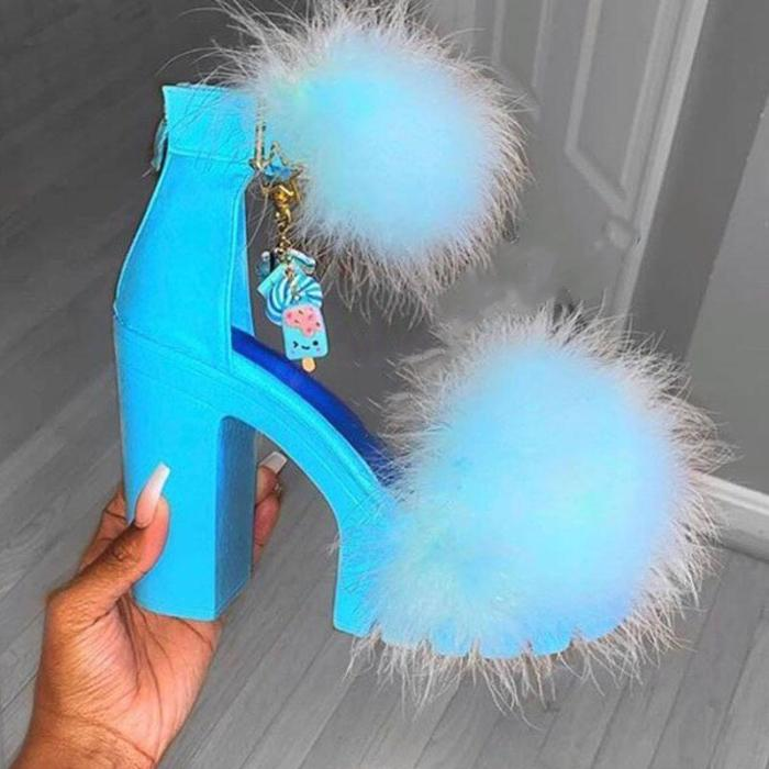 Women Sexy Fur Chunky Snadals