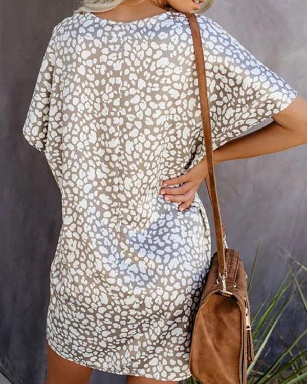 Holiday Shift Printed Short Sleeve Dresses