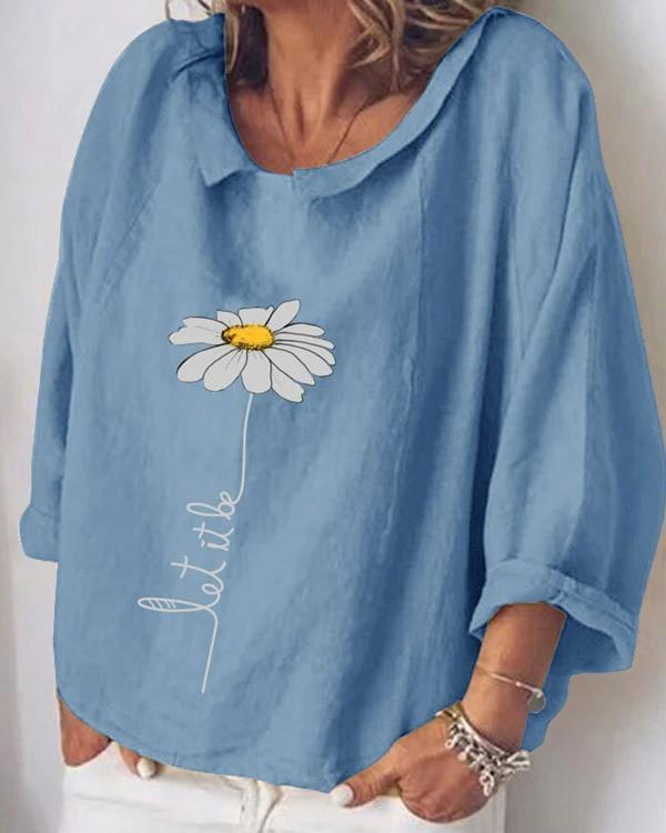 Fashion Flower Print Long Sleeve Shirt