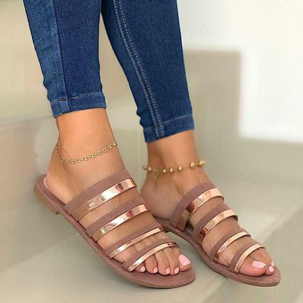Women's Comfortable Flat Open Toe Slippers