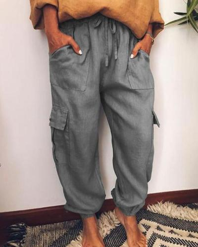 Casual Pockets Cotton-Blend Pants