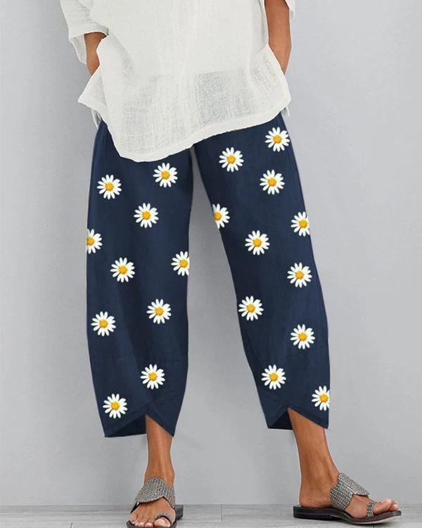 Printed Elastic Waist Casual Straight Pants