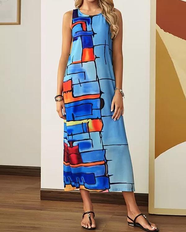 Casual Color Block Tunic Camisole Neckline Shift Dress