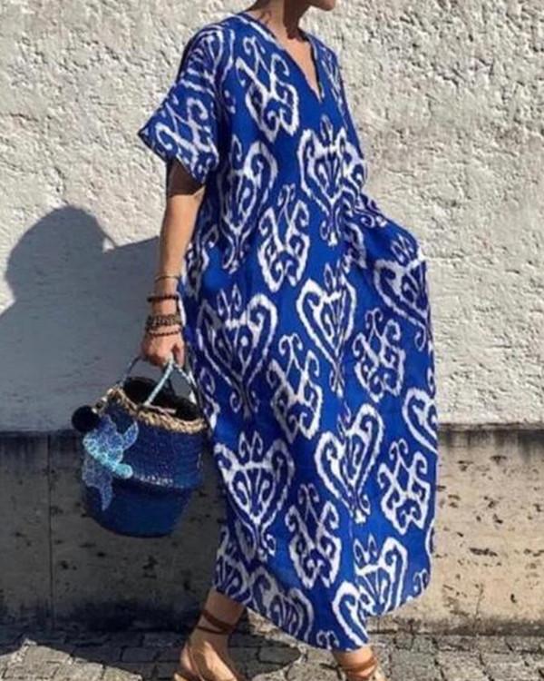 Boho Pattern Print V Neck Maxi Dress