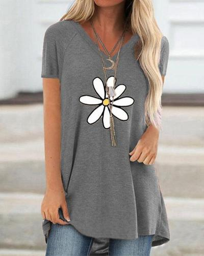 Floral Printed Casual Floral A-Line Shirts & Tops