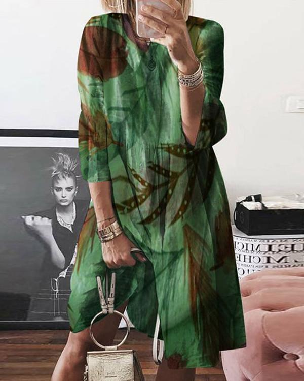 Normal Printed Casual Long-Sleeved Dresses