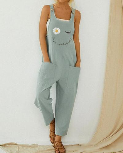 Cartoon Daisy Floral Letter Printed Jumpsuit With Pocket