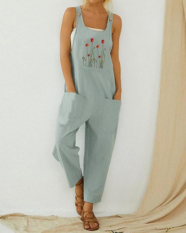 Flower Embroidered Straps Casual Jumpsuit For Women