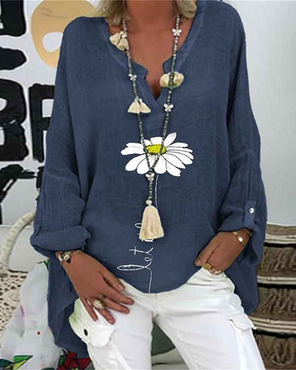 Casual Long Sleeve Floral Shirts & Tops
