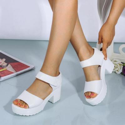 Women's PU Chunky Heel Sandals Peep Toe Sandals
