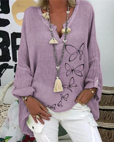 Casual V-Neckline Long Sleeve Blouses