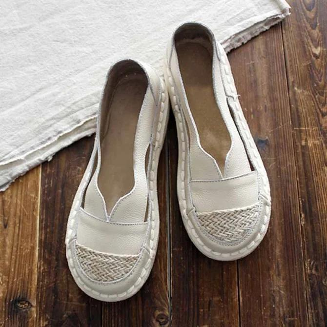 Flat Heel Leather Loafers