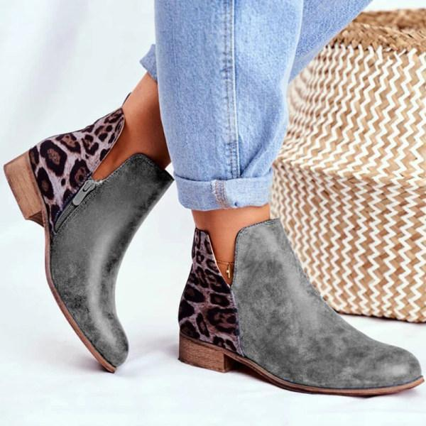 Women's low heel colorblock leopard Martin boots