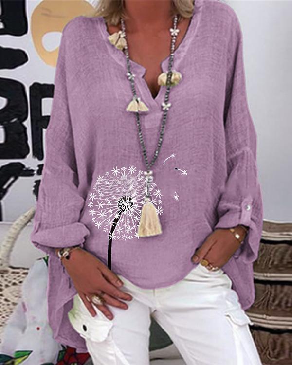 Dandelion Printed V-Neckline Long Sleeve Casual Blouses