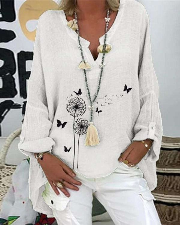 Long Sleeve Casual Floral Printed Shirts & Tops